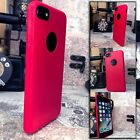iPhone 8 Case Protective PU Ole-phobic Bright Red & Glass Screen Protector