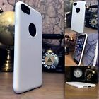 iPhone 8 Case Retro Leather Design Ole-phobic White & Glass Screen Protector