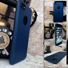 iPhone 8 Case Protective PU Design Ole-phobic Blue & Glass Screen Protector