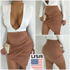 US Sexy Skirt Women Cross Lace Up Cut Out Mini Skirt Casual Badycon Pencil Skirt