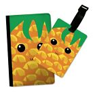 COOL PINEAPPLE FRUIT FACE FLIP PASSPORT AND LUGGAGE TAG HOLDER TRAVEL COVER