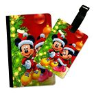 CHRISTMAS MICE DISNEY INSPIRED FLIP PASSPORT AND LUGGAGE TAG HOLDER TRAVEL COVER