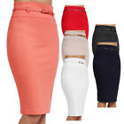 NE PEOPLE Womens Basic Knee Length Work Office Pencil Skirts with Belt [NEWSK35]