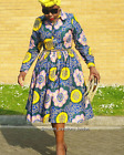 African Print Ankara Full Skirt Midi Log Sleeve Shirt Dress Size 12-16UK/8-12USA