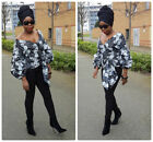 Towani Creations Ankara African Wrap Top With Exaggerated Puff Sleeves Size 10UK