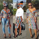Towani Ladies Ankara African Print Fabric Wrap Top/Skirt/Scarf Suit S to L