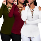 New Women's Lace Up Criss Cross V Neck Long Sleeve Blouse T-Shirt Tee Tops Solid