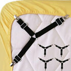 4PCS Adjustable Triangular Bed Mattress Sheet Metal Clips Grippers Straps OU