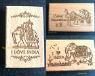 I LOVE INDIA SOUVENIR FRIDGE MAGNET ELEPHANT CAMEL RAJASTHAN WOODEN CARVED RARE