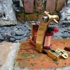 HAND BUILT SOLID BRASS PRO TATTOO MACHINE BULLDOG FRAME COLOR PACKER RED COILS