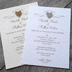 Personalised Wedding/evening invitations & envelopes. Regent glitter heart. D22