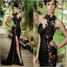 Sexy Black Evening Dresses Halter Neck Lace Prom Party Mermaid Sheer Lace Custom