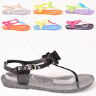 Ladies Womens Summer Jelly Sandal Casual Beach Holiday Flat Pool Shoes Size 3-8