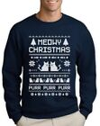 Meowy Christmas Ugly Sweater - Cute Xmas Party Sweatshirt Cats Purr