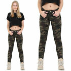Womens Military Army Green Brown Camouflage Skinny Slim Stretch Jeans Trousers