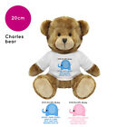 PERSONALISED NAME NEW BABY BIRTH NEWBORN KID CHARLES BEAR SOFT TOY GIFT PRESENT