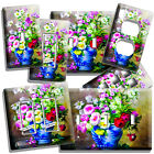 light painting video - BLUE VASE VIBRANT WILD FLOWERS PAINTING LIGHT SWITCH OUTLET PLATE ROOM ART DECOR