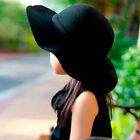 Внешний вид - Winter Kids Girls Wide Brim Cap Soft Wool Felt Bowknot Children Sun Hat