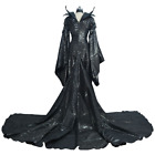 Lady Black Long  Wicked Maleficent Cosplay Costume Halloween Party  Fancy Dress