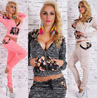 Women's 2-Piece Full Tracksuit Jogging With Hood Flower Pattern Suit HOT