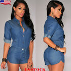 US Women Lace Up Denim Jeans Overall Pants Short Romper Slim