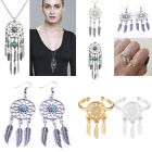 Boho Turquoise Feather Dream Catcher Tassel Pendant Necklace Earring Ring Chain