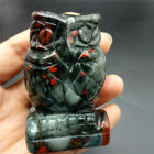 Agate blood Owl Crystal Statue Figure Natural Stone Owl Home Decor Healing
