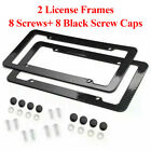 2x Universal Carbon Fiber Style License Plate Frames for Front & Rear