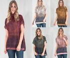 Women's Paisley Print Sequinned Ombre Boho Folk Tunic Top Blouse Size 12 to 18