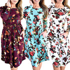 2018 New Floral Long Maxi Dress Long Sleeve Evening Party Summer Beach Sundress
