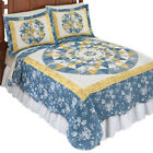 Mattie Medallion Patchwork Blue & Yellow Floral Quilt, by Collections Etc image