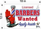 LICENSED BARBERS WANTED HELP SALON SMOOTH PVC PLASTIC SIGN (CHOOSE A SIZE)
