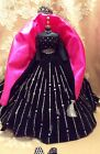 VTG BARBIE CLOTHS LOT,BLACK VELVET,SILVER,HOT PINK,DRESS,WRAP,SEQUIN CROWN,MINT
