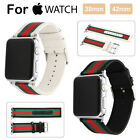Sport Nylon Stripe Leather Wrist Band Strap Bracelet for iWatch 38/42mm 40mm/44 image