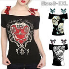 Womens T shirt Off Shoulder Lace Bows Skull Printing Summer Casual Plus Size US