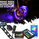 Bluetooth Motorcycle LED Neon Accent Glow Kit 14 Strip 4 wheel-well pod W Switch