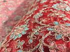 Embroidered French Lace, 'Rodez' Red (per metre) dress fabric, sewing
