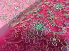 Embroidered French Lace, 'Rodez' Fuchsia  (per metre) dress fabric, sewing