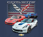 GM / Chevrolet Corvette C7 Gransport With Flag BLUE Adult Shirt