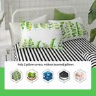 """FenDie Pillow Cases Set of 2 - Green Leaves Pattern Standard Size 20""""x 26"""" White"""