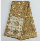 golden color sequins lace fabric 5 yards/lot , african fabric in wholesale price