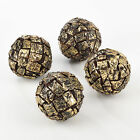 Fennco Styles Wooden Bark Design Decorative Balls - 3 Colors - set of 4