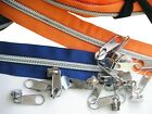 PACK of 10 metres  NYLON COIL continuous zip chain No.6 and 20 Pullers