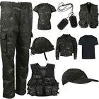 KIDS ARMY CLOTHING BOYS T-SHIRT TROUSERS VEST HELMET CAP HOODIE SAS BLACK CAMO