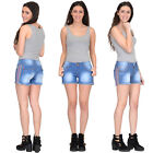 New Womens Ladies Fitted Stretch Faded Blue Denim Hot Pants Shorts Frayed Ends