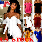 Sexy Women's Off Shoulder Bandage Bodycon Evening Party Cocktail Club Mini Dress
