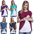 Women Maternity Breastfeeding Tops Nursing T-shirt Double Layer Pregnant Clothes