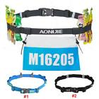 Sport Reflective Race Number Belt 6 Energy Gel Holder Marathon Running Riding JA image