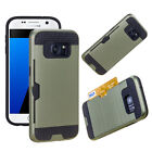 Brushed Cash Card Pocket Holder Rubber Armor Case For Samsung Galaxy S8 S8 Plus