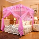 Pink Ruffled Four 4 Post Bed Canopy Netting Curtains Sheer Panel Corner ANY SIZE image